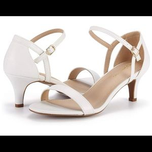 White Open Toe Stilleto Sandals